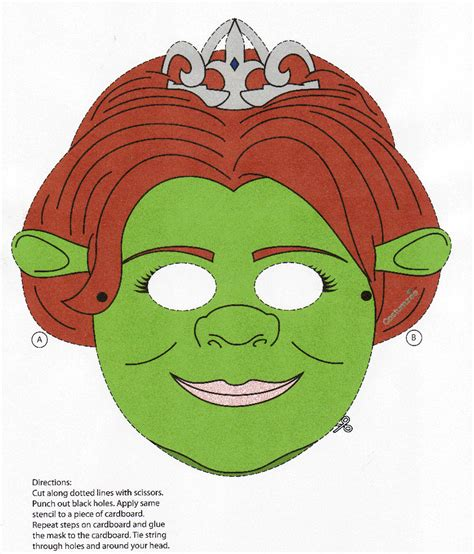 printable shrek mask fiona mask colouring pages page 2