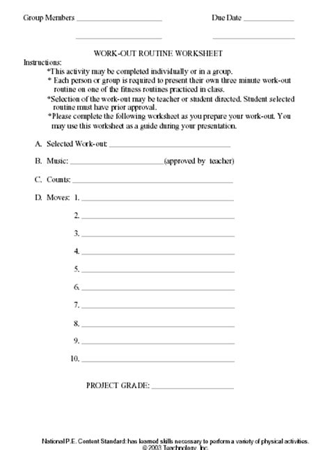 Physical Education Worksheets activity performance and forms workbook sle