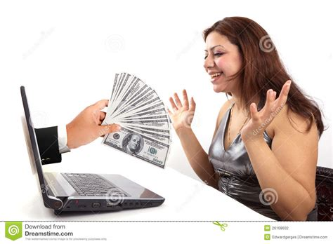 How To Make Money Online For Women - happy woman win online money stock photography image 26108602