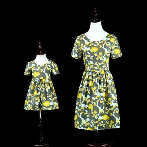 mother daughter dresses floal bird print fashion clothes mamma  friends love mom