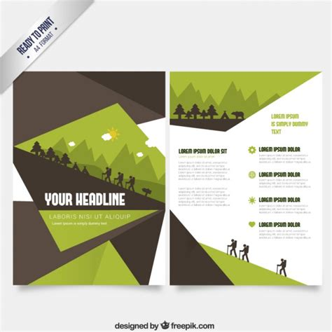 green brochure template brochure template in green and brown tones vector free