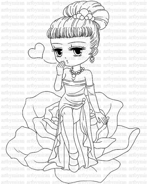 kawaii girl coloring pages valentine digital st 26 digi st cute girl
