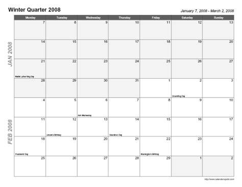 quarter page printable calendar printable trimester quarter calendar calendarsquick