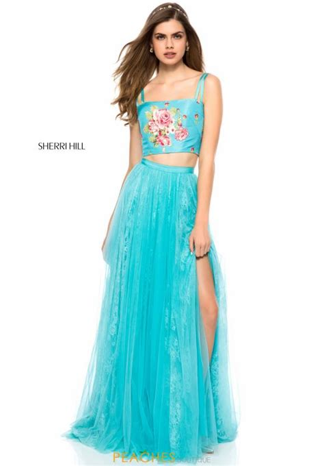 Id 877 Blue Flower Dress sherri hill dress 51945 peachesboutique