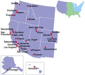 map of western united states with cities western u s cities mobility information
