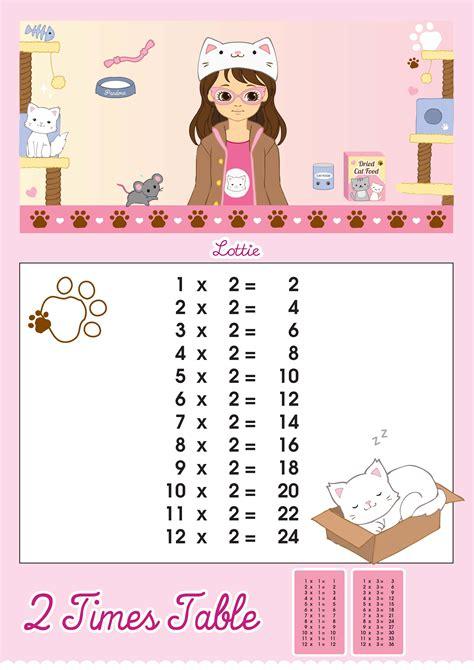 2 times table printable chart lottie dolls