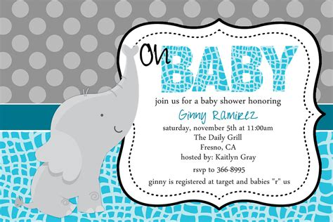 baby elephant baby shower invitations theruntime