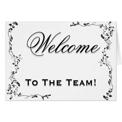 welcome card template word welcome to the team swirl floral black white card