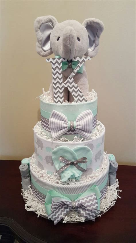 Cake Diapers Baby Shower by Mint Green And Grey Elephant Cake Baby Shower