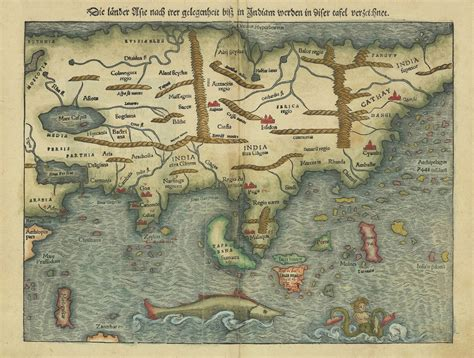 woodcut map of asia by s m 252 nster bartele gallerybartele gallery