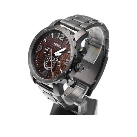 Fossil Jr 1355 fossil jr1355 nate chronograph stainless steel brown
