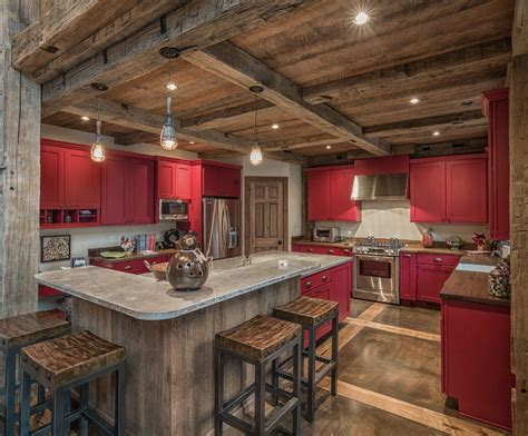 Rustic concrete kitchen kitchen rustic with post and beam