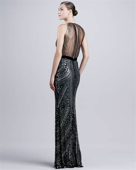 beaded halter dress naeem khan sheerback beaded halter gown in black lyst