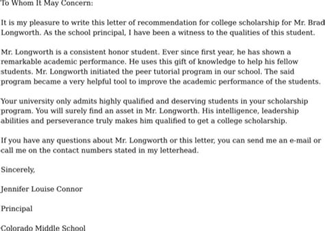 college recommendation letter for free formtemplate