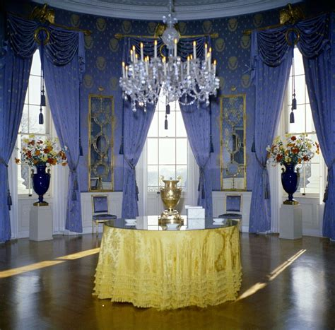 Oval Office Decor History kn c19633 blue room white house john f kennedy