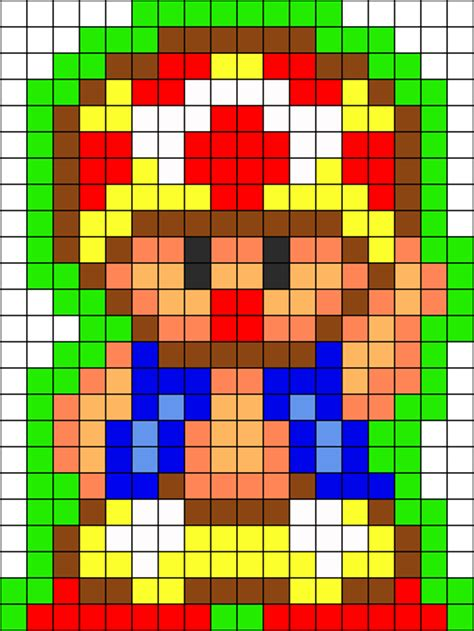 8 bit toad hi perler bead pattern bead sprites