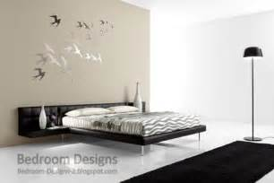 simple master bedroom design with creative wall paintings
