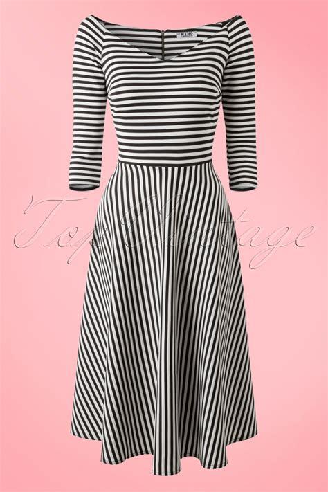 alma swing 50s alma swing dress in black and white stripes