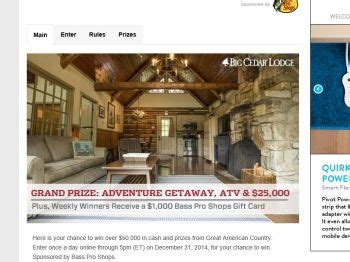 Great American Sweepstakes - great american country s american outdoor adventure sweepstakes sweepstakes fanatics