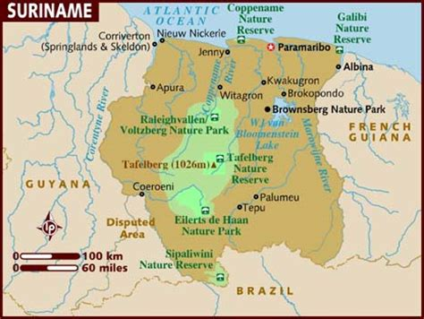 where is suriname on a map map of suriname