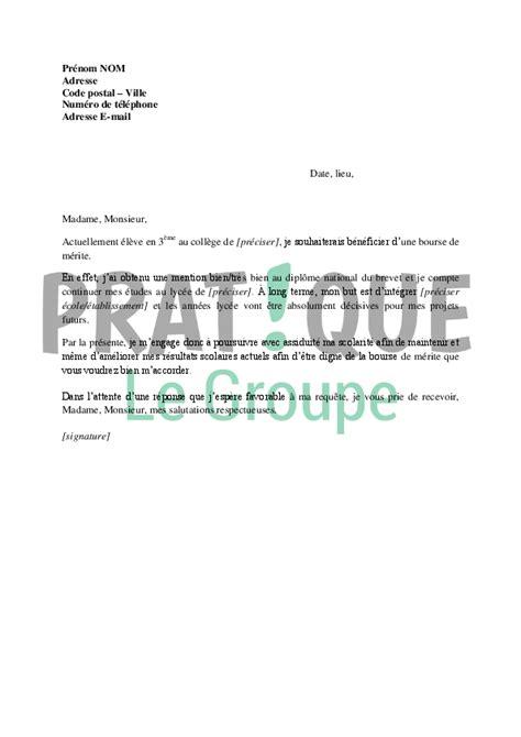 application letter sle modele de lettre de demande bourse