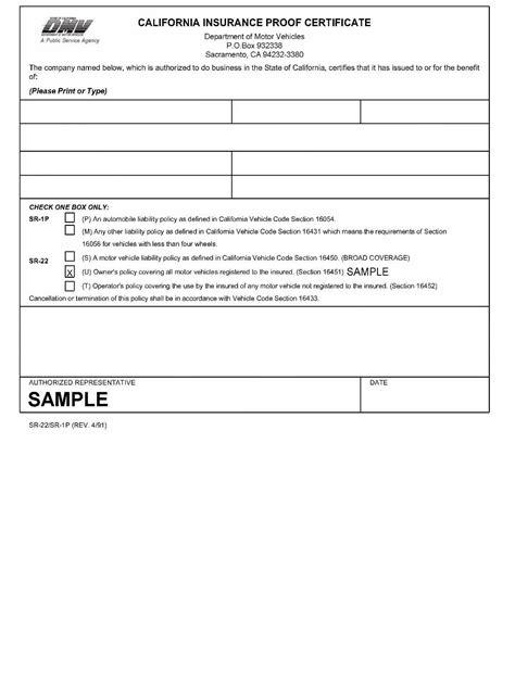 Image Gallery sr 22 form
