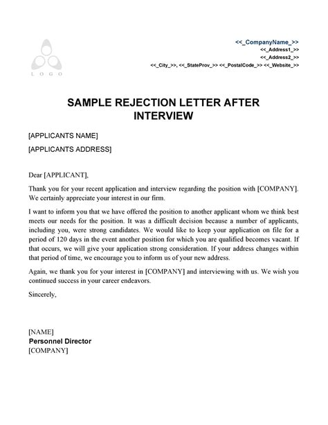 job rejection letter templates samples templatelab