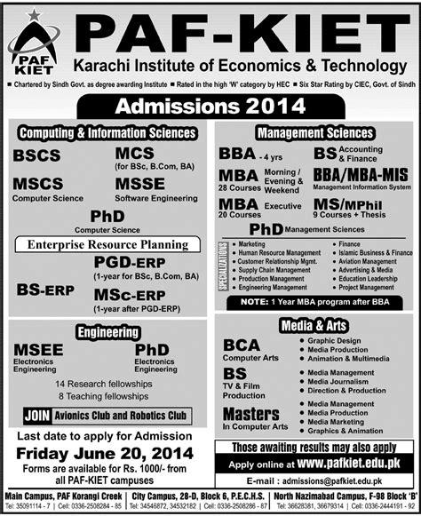 Mba Erp In Karachi by Paf Kiet Admissions 2015 Karachi Institute Of Economics