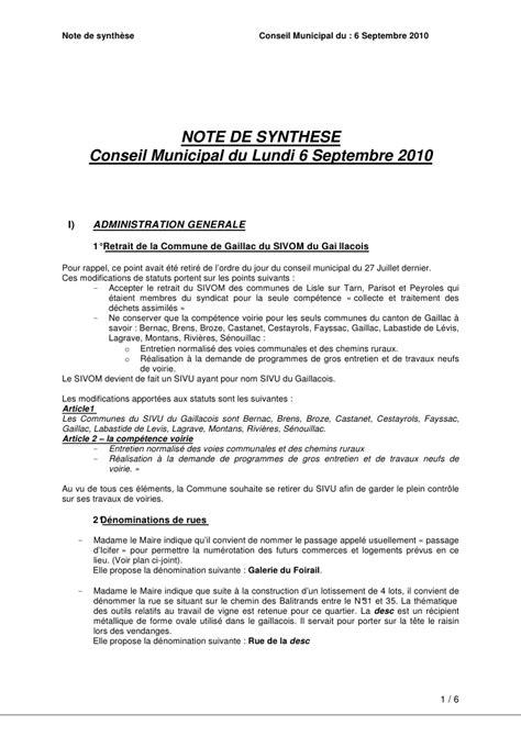 Modèle De Note De Synthèse Gratuit modele gratuit note de synthese document