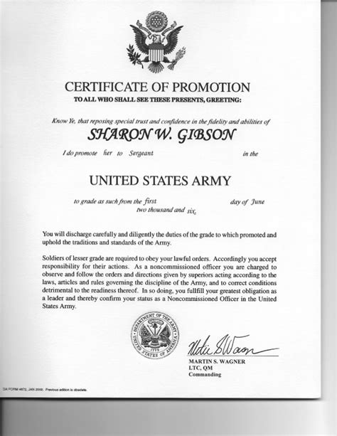 army promotion certificate template certificate of promotion sergeant