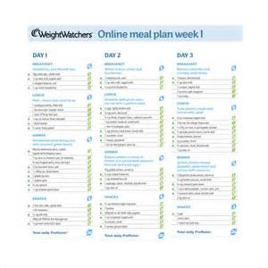 weight watchers menu planner template sle weekly meal plan template 9 free documents in