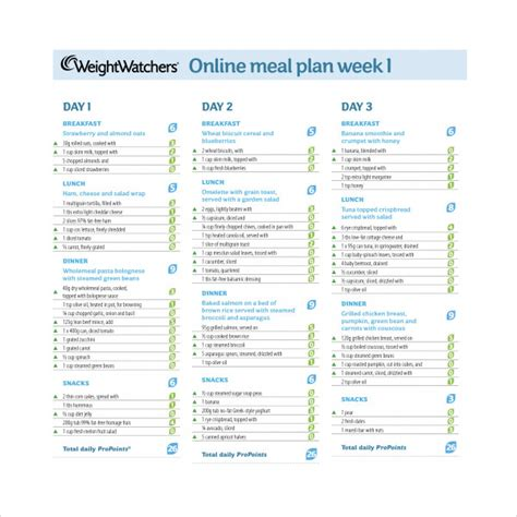 weight watchers meal planner template sle weekly meal plan template 9 free documents in