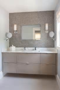 bathroom modern tile ideas backsplash: brown penny tile backsplash contemporary bathroom