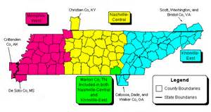 Tennessee Zip Code Map by W E R Tennessee Zip Code Maps