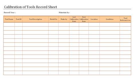 Equipment Calibration Log Sheet The Best Equipment In 2017 Equipment Calibration Log Template