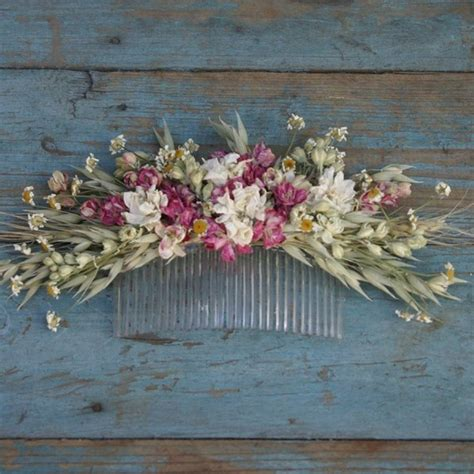 Flower Hair Comb country dried flower hair comb by the artisan dried flower