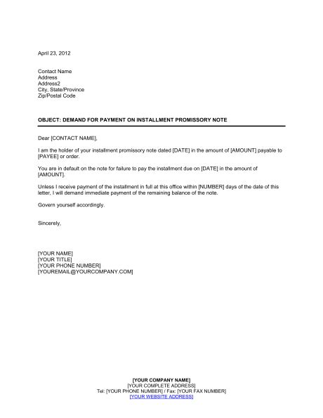 Demand Letter Amount demand for payment on installment promissory note
