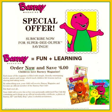 barney fan club magazines barney magazine offer 1997 by bestbarneyfan on deviantart
