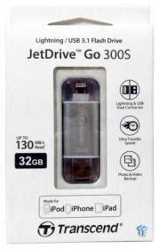 Transcend Jetdrive Go 300 32gb Black N Silver transcend jetdrive go 300s lightning usb 3 1 flash drive