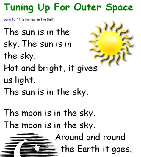 song for kindergarten songs about space with lyrics written to familiar