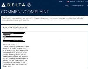 Delta Customer Complaint Letter Delta Airlines Animal Ideology