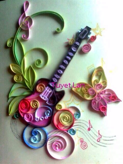Quilling Paper Craft - quill guitar paper quilling craft