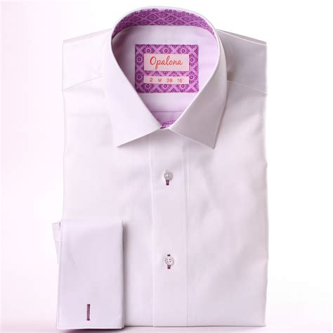 pattern shirt with white collar white french cuff shirt with lilac pattern collar and cuffs