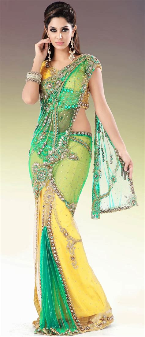 hairstyles in net saree yellow and green net lehenga style saree with blouse