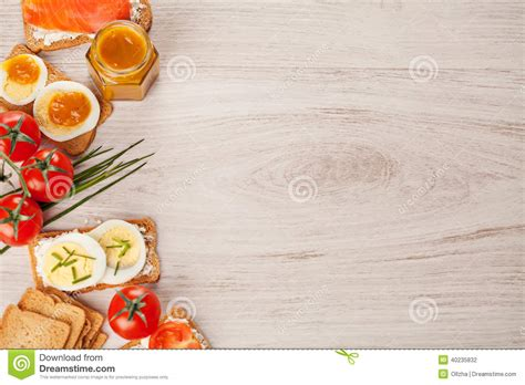 Italian Kitchen Designs by Tasty Canapes Food Border Light Background Stock Photo
