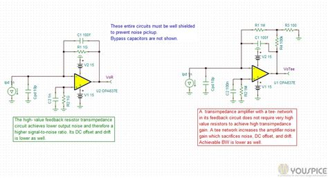 feedback resistor network transimpedance lifier with feedback resistor vs network youspice