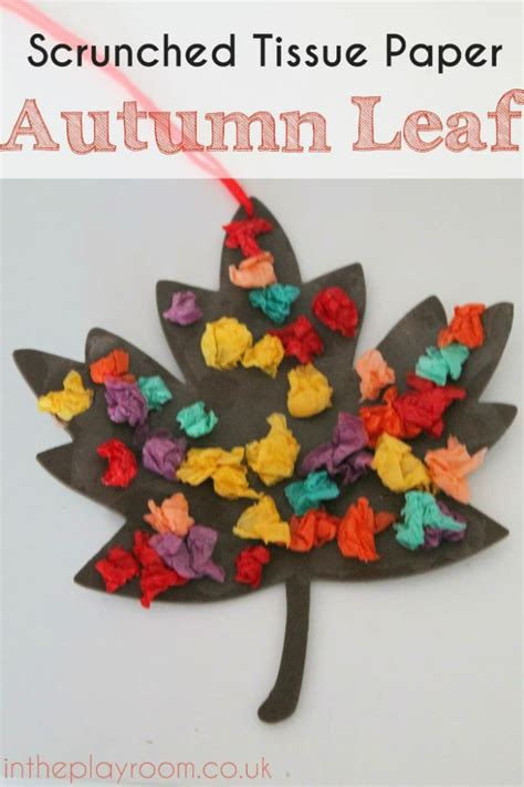 Tissue Paper Crafts For Preschoolers - scrunched tissue paper autumn leaf fall craft autumn