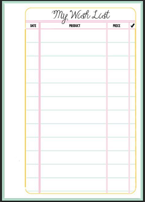 free printable birthday list template calendar template 2016