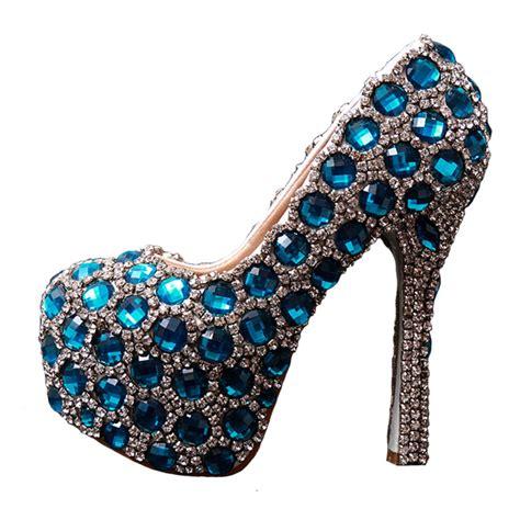 bling shoes vintage wedding shoes royal blue swarovski bling