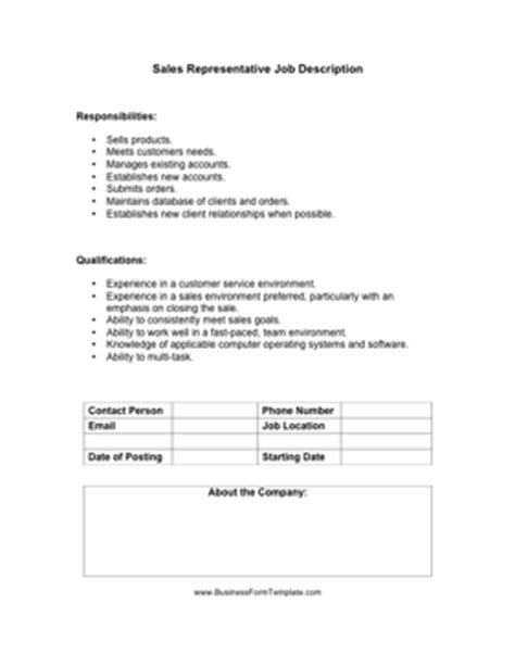 sales representative job description template